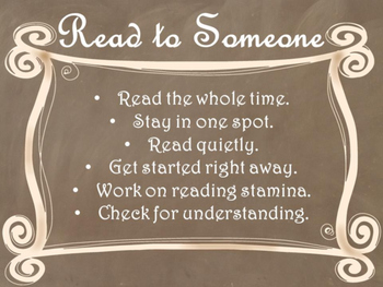 Daily 5 Behaviors Anchor Charts/Signs/Posters (Brown Chalkboard/Curly Frames)