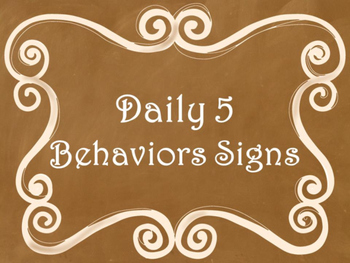 Daily 5 Behaviors Anchor Charts/Signs/Posters (Ombre Chalk