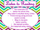 Daily 5 Behaviors Anchor Charts/Signs/Posters (Purple Green Chevron Theme)