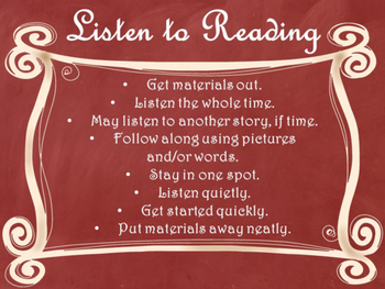 Daily 5 Behaviors Anchor Charts/Signs/Posters (Red Chalkboard/Curly Frames)
