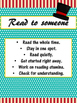 Daily 5 Behaviors Anchor Charts/Signs/Posters (Turquoise Red Carnival Theme)