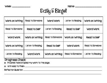 Daily 5 Bingo Choice Card