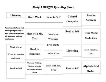 Daily 5 Bingo board