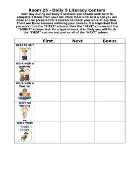 Daily 5 - Blank Menu/Checklist