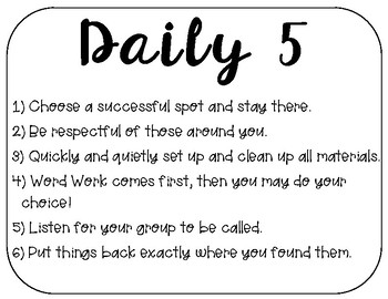 Daily 5 Bulletin Board