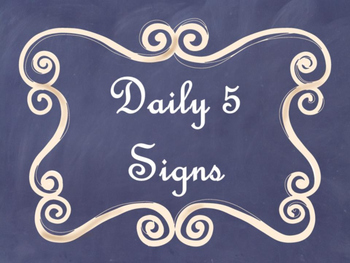 Daily 5 Bulletin Board Signs/Posters (Navy Chalkboard/Curly Frames Theme)