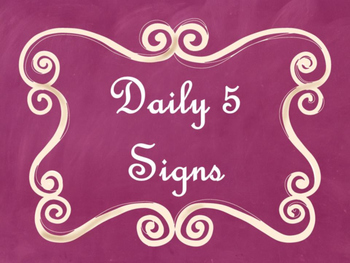 Daily 5 Bulletin Board Signs/Posters (Pink Chalkboard/Curly Frames Theme)