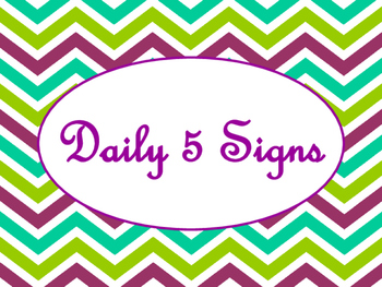 Daily 5 Bulletin Board Signs/Posters (Purple Green Chevron Theme)