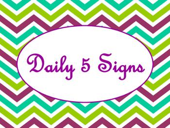 Daily 5 Bulletin Board Signs/Posters (Purple Green Chevron Theme)