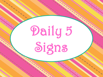 Daily 5 Bulletin Board Signs/Posters (Tangerine & Hot Pink Theme)