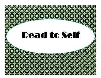 Daily 5 Bulletin Board Signs/Posters (Art Deco/Turquoise a