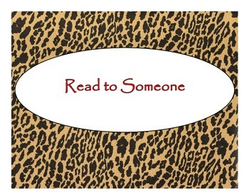 Daily 5 Bulletin Board Signs/Posters (Cheetah/Leopard/Red Lettering Theme)