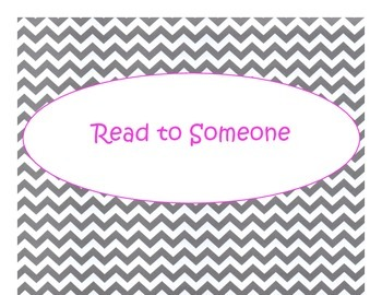Daily 5 Bulletin Board Signs/Posters (Gray Chevron Pink Lettering Theme)