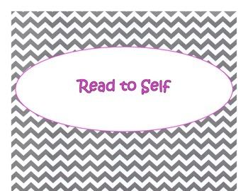 Daily 5 Bulletin Board Signs/Posters (Gray Chevron Pink Le