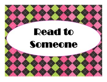 Daily 5 Bulletin Board Signs/Posters (Hot Pink/Lime Green/Black Argyle Theme)