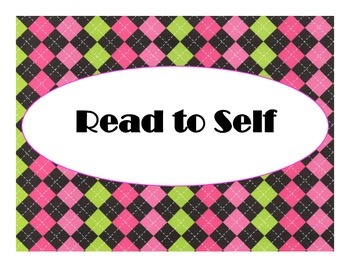 Daily 5 Bulletin Board Signs/Posters (Hot Pink/Lime Green/