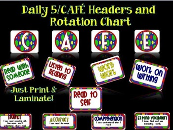 Polka Dot Daily 5 /CAFE  Headers and Rotation Chart