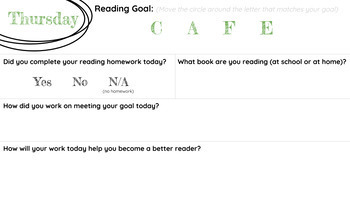 Daily 5/CAFE Weekly Learning Goal Sheet