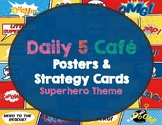Daily 5 Cafe Menu and Strategy Cards Superhero Theme