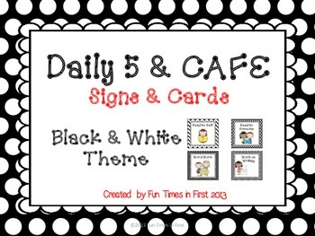 Daily 5 & Cafe Posters (Free) {Black and White Theme}
