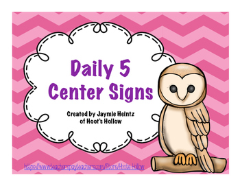 Daily 5 Center Signs- Owl Themed {Pink}