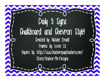 Daily 5 Chalkboard Posters
