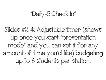 Daily-5 Check In PPT with Countdown Timers (*Editable)