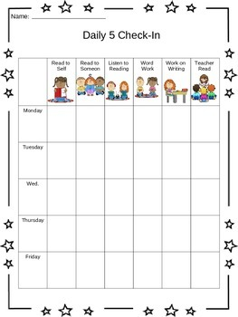daily 5 check in sheet by molly ruprecht teachers pay teachers