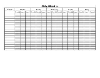 Daily 5 Check In Sheet