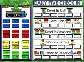 Daily 5 Check In Smartboard Freebie - St. Patrick's Day Theme