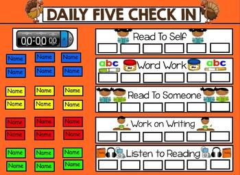 Daily 5 Check In Smartboard Freebie - Turkey Theme