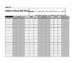 Daily 5 Check-in Recording Sheet