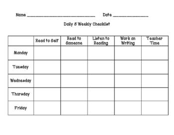 Daily 5 Checklist