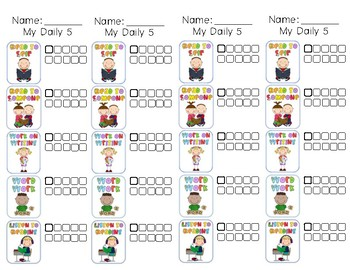 Daily 5 Checklist Bookmarks