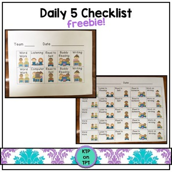 Daily 5 Checklist Freebie!