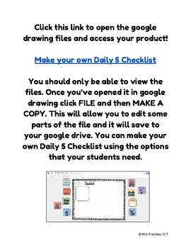 Daily 5 Checklist - Make your own