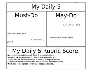 Daily 5 Checklist / Task Chart
