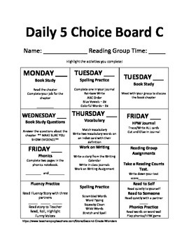 Daily 5 Choice Board Set