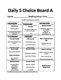 Daily 5 Choice Board Set **Editable**