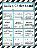 Daily 5 Choice Board with Reading, Writing, Spelling, Vocabulary and Phonics