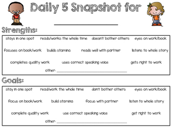 Daily 5 Choice Check Off, Self Reflection Rubrics, and Task Cards