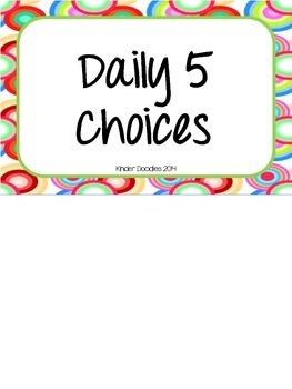 Daily 5 Choice Clip Chart