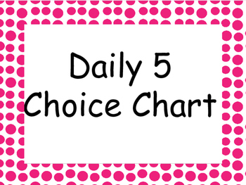 Daily 5 Choice Clip Chart