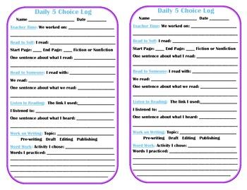 Daily 5 Choice Log