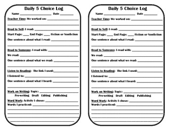 Daily 5 Choice Log