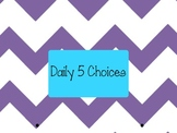 Daily 5 Choices Chart Purple Chevron