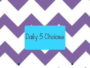 Daily 5 Choices Chart Purple Chevron