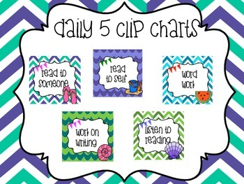 Daily 5 Clip Chart Minis Beach Themed Colorful