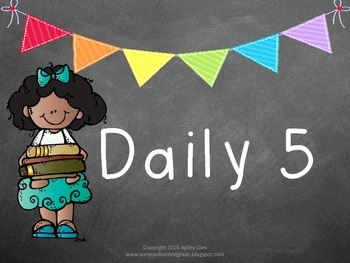 Daily 5 Clip Chart and Anchor Charts: Chalkboard and Brights