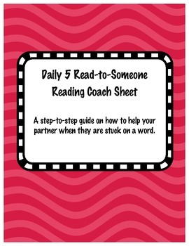 Daily 5 Coaching Sheet for Read-to-Someone